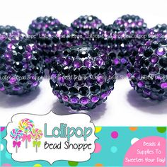 PURPLE & BLACK Rhinestone Beads 22mm Stripe Chunky Necklace Beads 10ct Halloween Beads Round Beads Acrylic Resin Beads Bubblegum Beads by LollipopBeadShoppe