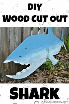 DIY Wood Cut Out Shark and fish are an inexpensive way to had lots of fun to kids rooms! H2OBungalow.com #Kidsroomdecor