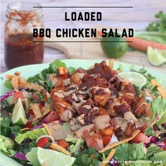 One of my favorite things about summer is all the amazing salads you can come up with. I'm not talking about a dinky little side salad. I'm talking a main course salad that leaves you craving more! This loaded BBQ chicken salad is loaded with flavor and it's topped with fresh chicken smothered in an AMAZING homemade barbecue sauce. This is perfect for a summer barbecue or 4th of July!