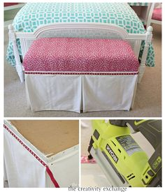 How to dress up benches and ottomans using a faux fabric panel trick.  The Creativity Exchange