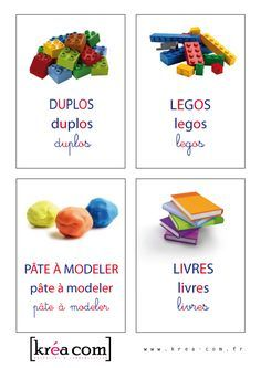 labels for toy boxes. School Organisation, Playroom Organization, Maria Montessori, Montessori Activities, Lego Duplo, Legos, Daycare Labels, French Language Lessons, Class Displays