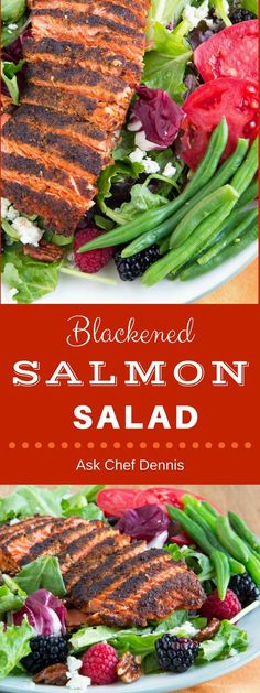 What could be better than a healthy and delicious salad?  Add blackened Salmon and fresh berries and you've got yourself a meal to remember! via @AskChefDennis #salad #healthy #recipes #salmon #fish Salmon Salad Recipes, Slaw Recipes, Fish Recipes, Lunch Recipes, Dinner Recipes, Healthy Recipes, Grill Recipes, Healthy Meals, Yummy Recipes