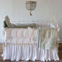 Bella Notte Linen Crib Skirt Quick Ship Ships Free  #bellanotte #bellanottestyle #bellanotteliving #bellanottebedding #bellanottebaby #bellanottefabric #lavenderfields #bellanottelinen