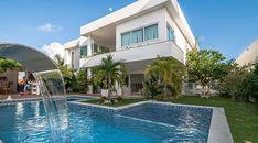 Projeto de casa grande sobrado com área de piscina e