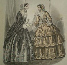 1851 Journal des Demoiselles - day dresses:  The style for flounces on the dresses begins to be very popular, with more and more flounces add all the time. Dress fabrics were milled especially for the flounces, with colors and patterns designed to be cut into strips.
