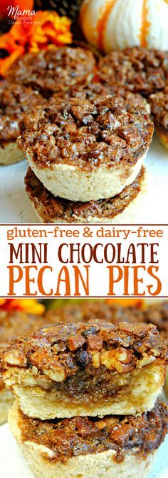 Gluten-Free Mini Chocolate Pecan Pies. Gluten-Free Mini Chocolate Pecan Pies are a simple, yet elegant dessert. Salty pecans, chocolate chips, gooey brown sugar filling and an easy crust. Perfect for your holiday celebrations!