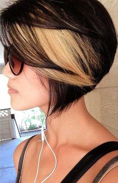If I EVER go short againg...I will have to do this...Glamorous Black Hair with Highlights of Blonde