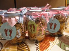 "favors I made for Vanessa's baby shower...Mason jars filled with animal crackers and hangtags. Other side of tag: ""So Tiny, So Small, So Loved by All"" stamp found at Michael's Craft Store."