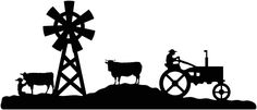 Farm scene Cow, windmill and tractor DXF File-cut ready for cnc machines