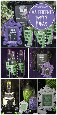 A spooky green, black and purple party celebrating the Disney movie Maleficent with an amazing cake!  See more party ideas at CatchMyParty.com!