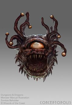 As if facing a Beholder isn't bad enough! Art from the Monster Manual for the new release of D&D. #DnD #Zombie