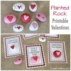 Well, you know we've been into painted rocks lately.  They are just so much fun!  Here's a fun idea for Valentine's Day painted rocks, and there are even printable Valentine cards to go with them.  Kids will enjoy making these and giving them to friends, and as an added bonus they are candy-free!   As usual, we used beach pebbles from the lawn and garden section at Home Depot and acrylic paint. I totally recommend drawing the hearts with a pencil first before painting.  I used a S...