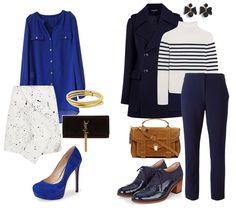 Сочетание синего и белого цвета в одежде