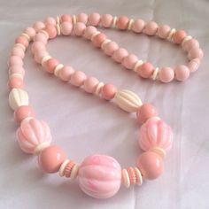 Vintage Pink and Cream Chunky Lucite Beaded Necklace by BorrowedTimes on Etsy