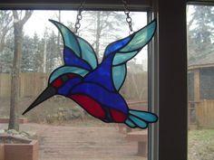 Colourful Hummingbird suncatcher by EnglishRoseGlassArt on Etsy