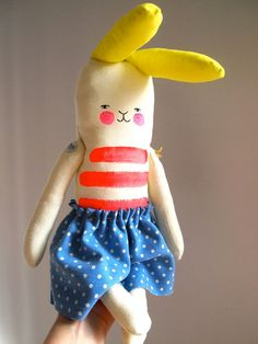 Jess Quinn - Linen bunny rabbit doll soft toy by JessQuinnSmallArt on Etsy