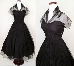Chic 1950's Black New Look Cocktail Party Dress