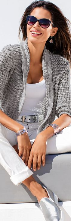 GORG GRAY TONES LOLO Madeleine Light Grey Cardigan repined Bella DonnaLuxeDes
