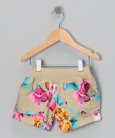 Khaki Vintage Floral Shorts - Infant, Toddler & Girls by the Silly Sissy on #zulily