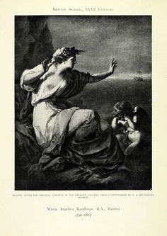 1905 Print Ariadne Greek Mythology Nude Winged Angel Ship Maria Kauffman XAD9