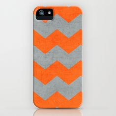 chevron- gray and orange iPhone & iPod Case by her art