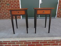 Pair of Stands with Tiger Maple Tops and Drawers.