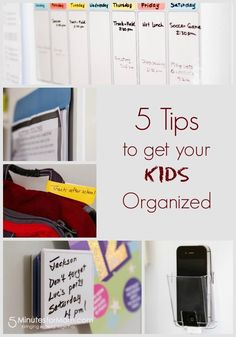 5 Organizing Tips for Kids - 5 Tips to get your kids organized - Organization solutions to help kids organize their school paperwork, use reminders, maintain a calendar of tasks and more. Sponsored.