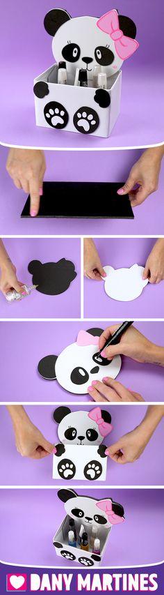 Faça você mesmo um Porta treco de Panda, lindo, Pandinha linda, fácil de fazer, gastando pouco, decoração, Kawaii, Eu Amo Panda, super fofo, cute, fofinho, DIY, Do it yourself, Dany Martines