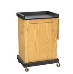 """The Smart Cart Lectern is a computer-friendly, multi-purpose audio-visual cart and lectern for public speaking. It features a recessed 2"""" deep surface shelf for placement of a laptop which can be stor"""