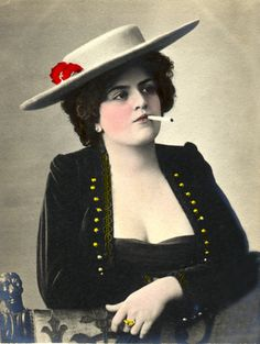 Lady with hat smoking | Early Pictures
