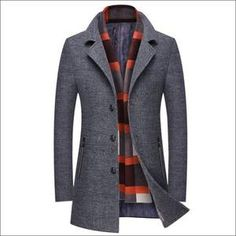 Keamallltd Mens Coats Casual Slim Fit Woolen Coat Winter Jackets Warm Trench Coat with Detachable Touch Wool Scarf Regular Overcoat Trenchcoats Jackets-Gilets T-Shirts-Shirts Mens Wool Trench Coat, Mens Wool Coats, Plaid Coat, Slim Fit Jackets, Long Jackets, Winter Jackets, Business Casual Men, Men Casual, Man's Overcoat