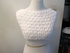 "Light and ethereal, these Ariel Lace White knit shawlet / cowl / shrug / circle scarf / snood / infiniti scarf are wonderful to wear and feel. Knit of acrylic and nylon yarn. It can be worn around the shoulders and down the back - stretches a lot if it needs to - or around the neck as a cowl or throat warmer.   Size - Xsmall / Small  wide 12""   around - 35-44"" don't forget that this will be over your arms as well as chest    Large / XLarge wide 15""   around - 45""-57"""