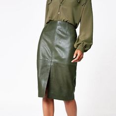 New olive green faux leather high waist midi knee length women pencil skirt Business Professional Outfits, Capsule Wardrobe Work, Midi Length Skirts, Skirt Outfits, The Ordinary, Olive Green, Leather Skirt, Clothes For Women, High Waist