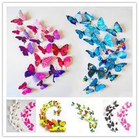 Free shipping 12pcs 6 big+ 6 small PVC 3d Butterfly ...