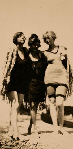 """""""The Three Muses""""  Rue Carpenter, Sara Murphy, Gini Carpenter on the beach.  1923"""