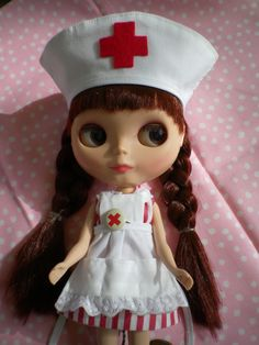 Nurse OUTFIT for Blythe Doll THREE piece Thin Red Stripes. $28.00, via Etsy.