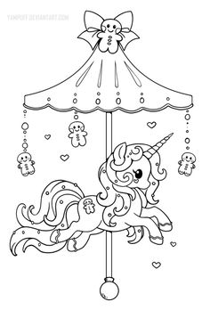Kawaii Halloween Coloring Pages New Holiday Carousel Pony Gingerbread Pony Lineart by Yampuff Unicorn Coloring Pages, Halloween Coloring Pages, Cute Coloring Pages, Printable Coloring Pages, Adult Coloring Pages, Coloring Pages For Kids, Coloring Sheets, Coloring Books, Kids Coloring
