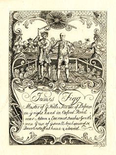 Canvas Print-James Figg - advertisment illustrated by William Hogarth, c. for instructor in swordsmanship. Caption: Master of inch William Hogarth, Fine Art Prints, Canvas Prints, Vintage Ephemera, Vintage Ads, Vintage Floral, Adam And Eve, Book Illustration, Illustrations