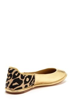 DVF Botswana Flat - gold with leopard heel? yes!