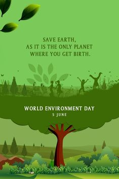 Happy World Environment Day 2019 On the occasion of World Environment Day, let us pledge to work hard in making Earth a greener and healthier place to live. Let us come together to plant more trees and spread greenery. Happy Environment Day, Environment Day Quotes, World Environment Day Posters, Environment Painting, Letra Drop Cap, Environmental Posters, Palm Tree Drawing, Earth Poster, Love The Earth