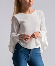 Another great find on #zulily! Off-White Crinkled Bell-Sleeve Top #zulilyfinds