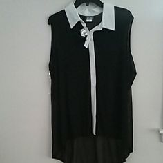New Black collared sheer top with high-low hem 1x Brand new black sheer top with white collar and button down detail, high-low hem, size 1x Dots Tops Blouses