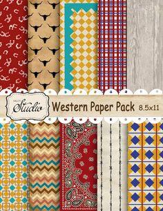 Instant Digital Download Western Paper Pack 10 Custom by sssstudio, ETSY _ Great printable shop! ! ! !
