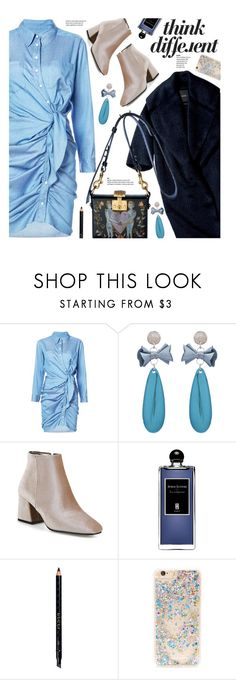 """""""#PolyPresents: New Year's Resolutions"""" by beebeely-look ❤ liked on Polyvore featuring Serge Lutens, Gucci, Forever 21, dresses, booties, under100, fauxfur and gamiss"""