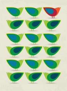 Mid Century design inspired Birds Illustration Print Art Poster in Green and Blue - poster print - Cathrineholm art print poster on Etsy, € Mid Century Art, Mid Century Design, Bird Illustration, Illustrations, Retro, Bird Poster, Poster Prints, Art Prints, Bird Design