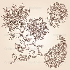 Illustration about Henna Mehndi Mandala Flower Doodles Abstract Floral Paisley Design Elements Vector Illustration. Illustration of hand, doodle, abstract - 23180832 Henna Mehndi, Flor Henna, Henna Tatoos, Mehndi Flower, Mehndi Tattoo, Henna Art, Henna Flowers, Flower Mandala, Arabic Henna