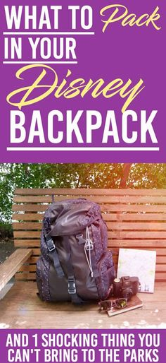 What to Bring to Disney World Parks & One Thing You Can't Bring. Make sure you are ready for the day at Disney world theme parks and have your back pack ready to go. Disney World Backpack, Disney World Packing, Disney World Florida, Disney World Parks, Walt Disney World Vacations, Disney Travel, Disney Worlds, Disneyland Vacations, Family Vacations
