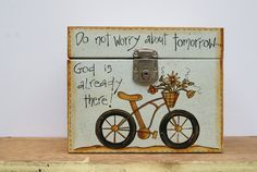 Rustic Metal Storage Box Hand Painted Metal File Box Porta-File Box Cottage Chic Decor Don't Worry About Tomorrow...God Is Already There