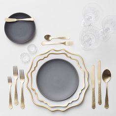 Anna Weatherley & Indigo/Slate Heath Ceramics Dinnerware + Chateau Flatware + Czech Crystal/Coupe Trios + Antique Crystal Salt Cellars | Casa de Perrin Design Presentation