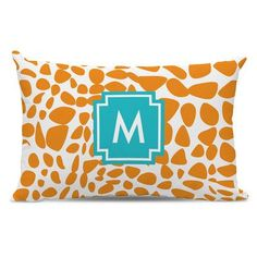 Whitney English Lizard Single Initial Cotton Lumbar Pillow Letter: T